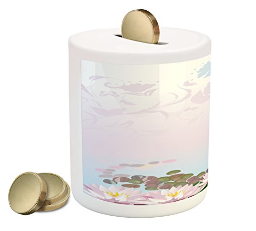 Cheap  Zen Garden Coin Box Bank by Ambesonne, Water Lilies Pattern with Asian..