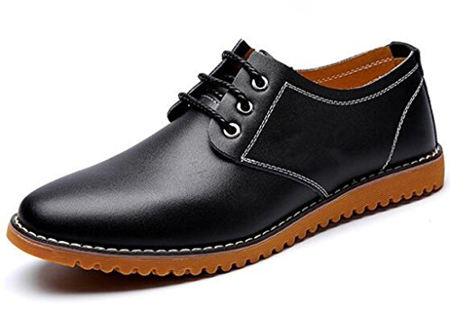 DADAWEN Men's Classic Modern Lace Up Leather Oxford Dress Shoes Black US Size 8.5
