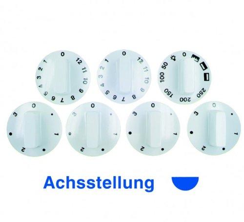Knebelset 7-teilig weiß für Backöfen, 0-Stellung bei abgeflachter Achse oben, die Achse schließt bündig mit der Unterkante des Knebels ab Ersatzteilpartner