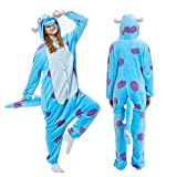 Unisex Adult Animal Pajamas-Sulley Onesie Halloween Animal Sullivan Costume Winter Sleeping Wear Cosplay Costume M