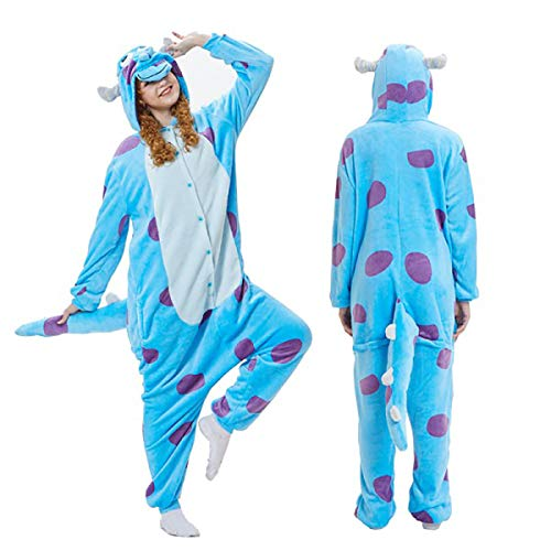 Adult Kigurumi Pajamas-Unisex Sulley Onesie Halloween Animal Sullivan Costume Winter Sleeping Wear Cosplay S Blue -