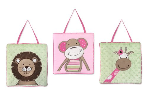 Sweet Jojo Designs Pink and Green Jungle Friends Wall Hanging (Jungle Friends Mobile)