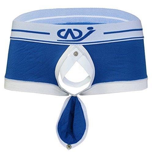 YiZYiF Men's Boxer Brief Buckled Pouch Shorts Underwear Blue (Mens Pouch Short)
