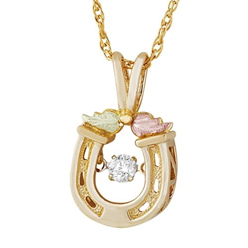 - Landstroms 10K Black Hills Gold Horse Shoe Pendant with Genuine 1/10 CT Diamond with 12k Gold Leaves