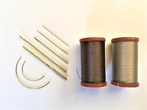 Upholstery Repair Kit Coats Extra Strong Upholstery Thread Plus Heavy Duty Assorted Hand Needles: 7 Needles and 2 spools 150 Yards Each (Brown & - Upholstery Nylon Thread