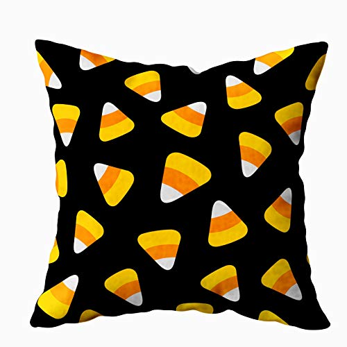 ROOLAYS Decorative Throw Square Pillow Case Cover 18X18Inch,Cotton Cushion Covers Halloween Candy Corn Happy Halloween Pattern Both Sides Printing Invisible Zipper Home Sofa Decor Pillowcase -