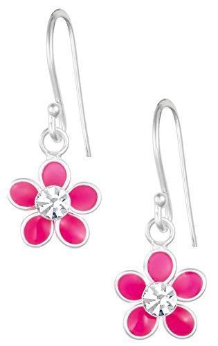 Daisy Dangle (Hypoallergenic Sterling Silver Crystal Pink Daisy Flower Dangle Earrings for Kids (Nickel Free))