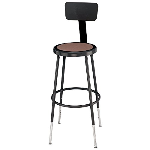 Tabletop king Seating 6224HB-10 24'' Adjustable Black Round Hardboard Lab Stool with Backrest by TableTop King