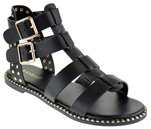 BAMBOO Minimal 58 Womens Open Toe Dual Buckle Studded Flat Caged Gladiator Sandals Black 7.5 ()