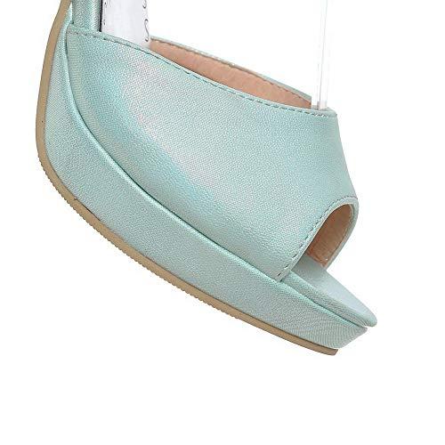 Talon Haut Femme TSFLH007615 Boucle Couleur AalarDom à Bleu Sandales Unie tIf4qtw