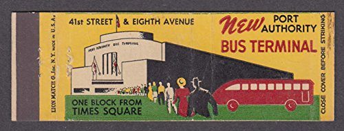 (New Port Authority Bus Terminal 41st Street & Eighth Avenue NY matchcover)