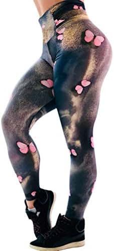 Eaktool Women 3D Stripe Printed High-Waist Hip Stretch Running Yoga Pants Control Workout Stretch Sport Exercise