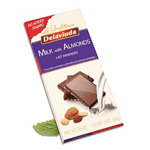 Amazon.com : DELAVIUDA - NO ADDED SUGARS - MILK Chocolate and ALMONDS - 100gr/3.52oz bar (8 bars PACK) : Grocery & Gourmet Food