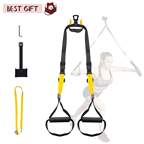 Fitness Straps – Bodyweight Training Straps Kit with 2 Adjustable Resistance Straps + Door Anchor + Extension Strap Full Body Workouts for Home Gym Outdoors Workouts – Best Gift