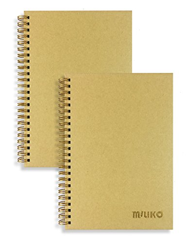 Miliko A5 Size Kraft Paper Hardcover Square Grid Wirebound/Spiral Notebook/Journal-2 Notebooks Per Pack-70 Sheets (140 Pages)-8.27 x 5.67 (Golden Binding Rings, Kraft Square Grid)
