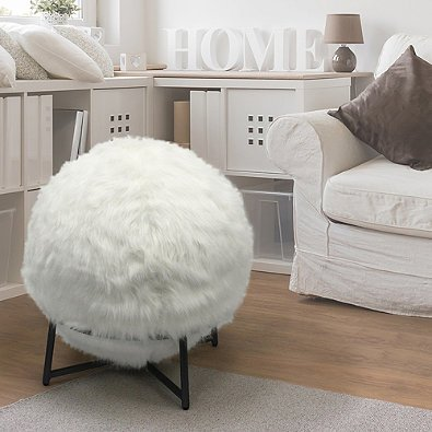 Ergonomic Inflatable Ball Chair with Luxurious Faux Fur Cover and Stand in Ivory- Includes a sturdy metal base/stand