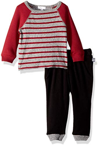 Splendid Baby Boys Yarn Dyed Stripe Raglan top Set, Garnet red, 3/6 mo