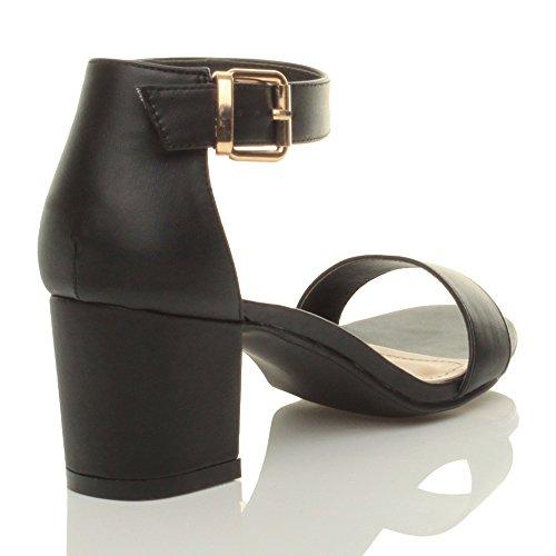 Ajvani - Sandalias de tacón bajo cuadrado para mujer con correa de tobillo y hebilla negro mate