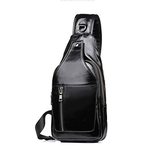 Outdoor Casual Sport in Crossbody Nero Colore Zaino Sport Casual Viaggi pelle Escursionismo Crossbody Bag Sport Uomo Uomo Daypack x0pRqp