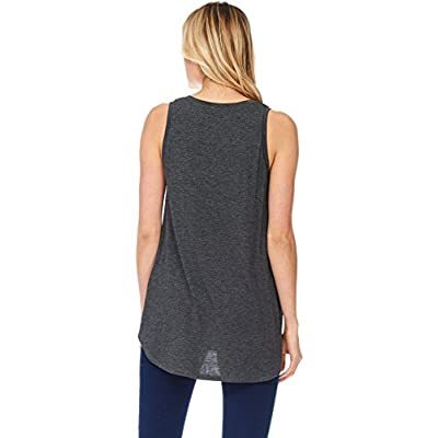 Alexander + David Womens Casual Loose Knit V-Neck Tank Top with Uneven Hem Hi-Lo Bottom: Clothing