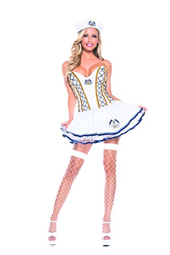 Adult Women's 2 Piece Sailor Captain White Dress Halloween Party Costume (Curvy Halloween Costumes)