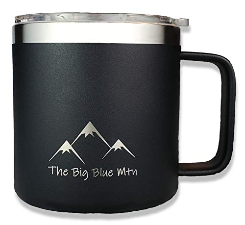 - THE BIG BLUE MTN 14 oz Camp Mug Travel Tumbler Cup with Powder Coated Double Walled Vacuum Insulated Stainless Steel including Lid and Handle for Coffee Wine Water Tea Hot Cold Beverage (Black)
