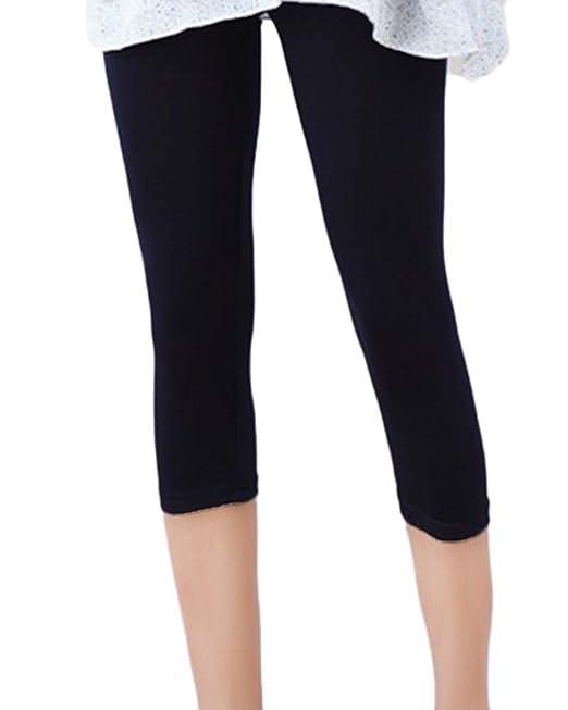 GladiolusA Mujer Leggings Cortos 3/4 Color Sólido Pantalones Capri Yoga Leggings Mallas Deportivas Talla Grande