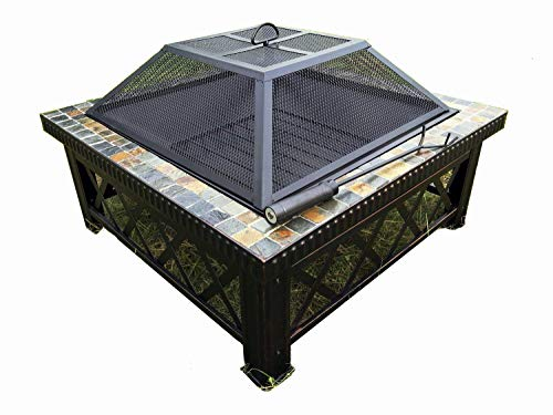 Autumn Slate Tile - Lizh Metalwork 30-inch Outdoor Square Fire Pit Table with Natural Slate Tile,Wood Buring Patio Heater