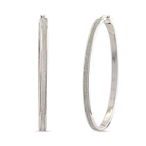 LeCalla Sterling Silver Jewelry Oval Shape Glitter Sparkle Flat Hoop Earrings Light Weight for Women Flat Oval Shape