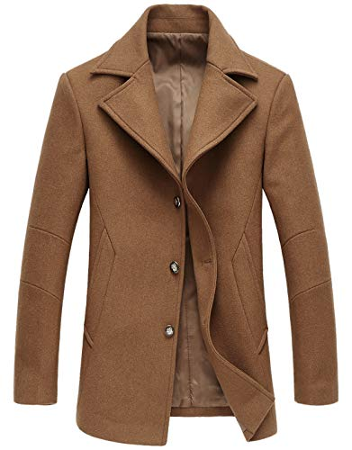 chouyatou Men's Classic Notched Collar Double Breasted Wool Blend Pea Coat (X-Small, Single-Camel)