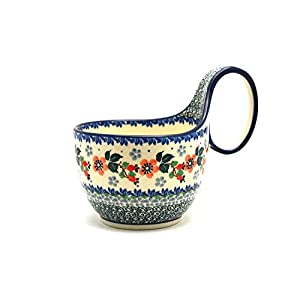 Polish Pottery Loop Handle Bowl – Cherry Blossom