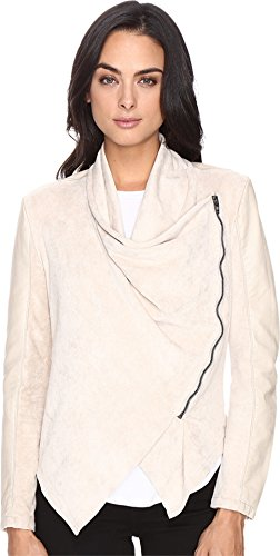 Blank NYC Women's Faux Suede Beige Drape Front Jacket in Sunny Days Sunny Days Large