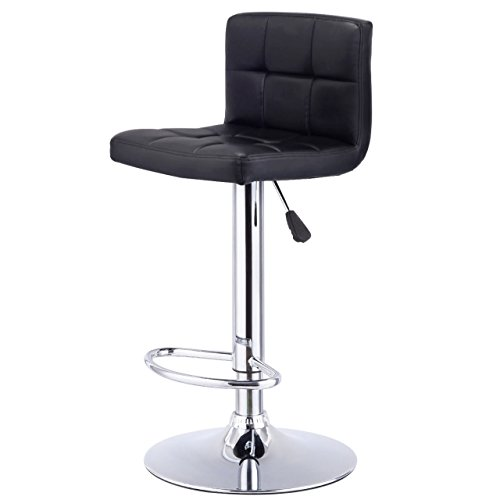 New Bar Stools Durable PU Leather Pneumatic Adjustable 360 Degree Swivel Pub Chairs / Black #1001 (Furniture Naples Outdoor Cushions Fl)