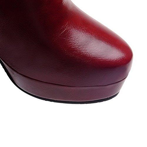 AllhqFashion Mujeres Puntera Redonda Tachonado Caña Baja Tacón ancho Botas con Colgantes Rojo