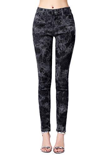 ZLZ Skinny Jeans, Women's Casual Butt Lift Stretch Jeans Leggings (16, Black Floral)