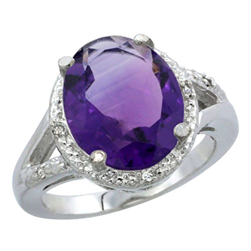 10K Yellow Gold Natural Amethyst Ring Oval 12x10mm Diamond Accent, size 10