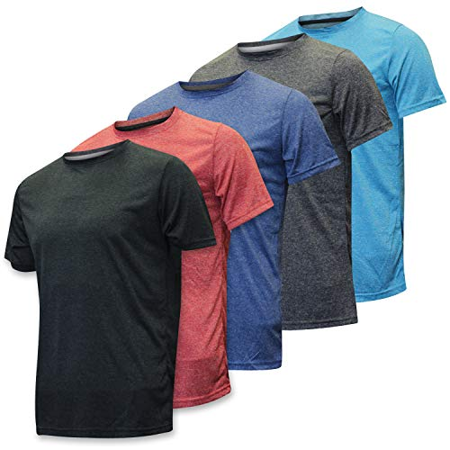 Real Essentials Men's Dry Fit/Dri-Fit Short Sleeve Active/Activewear Training Athletic Tech T-Shirt...