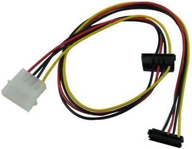 OKGEAR 20 inch 4pin MOLEX Male to Dual 90 Degree Crimping Type SATA 15-Pin Female Power connectors Cable