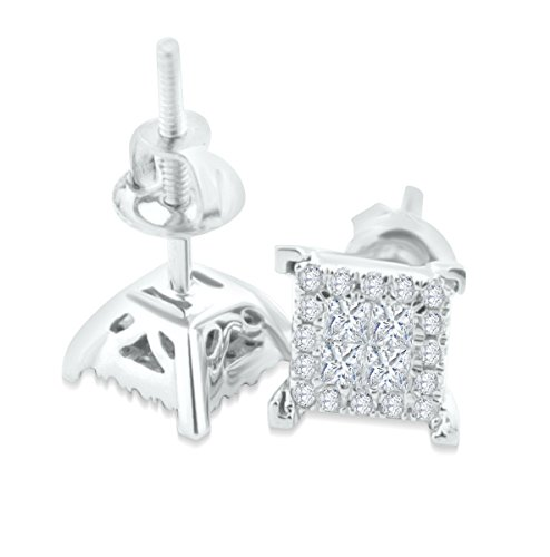 1/4ctw Diamond Earrings Mens Gold and Diamond Earrings 10K Princess Cut Screw Back (white-gold) by Midwest Jewellery