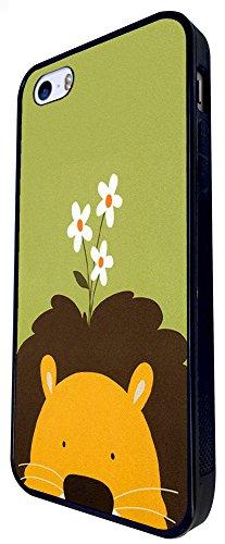 499 - Cute Lion Face Daisy Design iphone SE - 2016 Coque Fashion Trend Case Coque Protection Cover plastique et métal - Noir