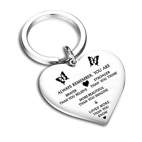 WillowswayW Round Key Ring Always Remember You Are Braver Pendant Inspirational Keychain (one size, Silver -heart) (Gift Heart Keychain)