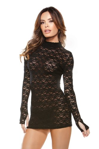 Tease Womens Sexy Lace Turtle Neck Long Sleeved Mini Dress (Queen Black)