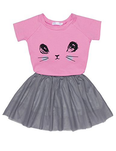 Price comparison product image Arshiner Toddler Baby Kids Girls Summer Clothes Set Cartoon Cat Top T-Shirt + Tutu Skirts Dress Outfits