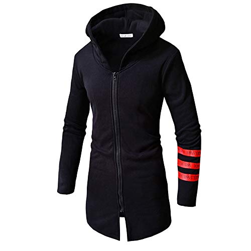 MODOQO Long Sleeve Winter Trench Coat for Men Warm Zipper Hoodies Jacket Top (Black,XL) ()