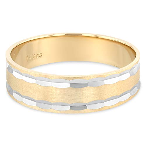 Ioka - 14K Two Tone Solid Gold 6mm Diamond Cut Tapered Hammered Style Mens Wedding Band - Size 8