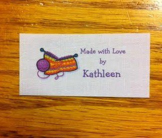 40 Custom fabric flat sew on labels with knitting graphic