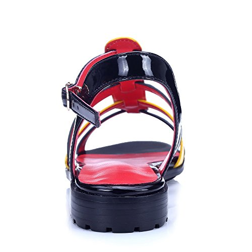 Open Leather Sandals Black Assorted AmoonyFashion Toe Patent Womens heels Buckle Low Color 7qxAIwp6