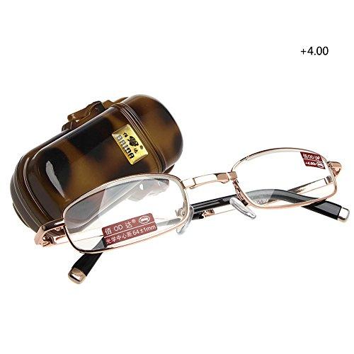 Doober Fashion Unisex Foldable Reading Glasses +1 +1.5 +2 +2.5 +3 +3.5 +4.0 Full Frame (Gold, - Full Men Glasses Frame