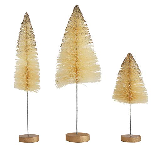 Creative Co-Op Sisal Bottle Brush Trees, Cream with Gold Glitter, Set of 3 ()
