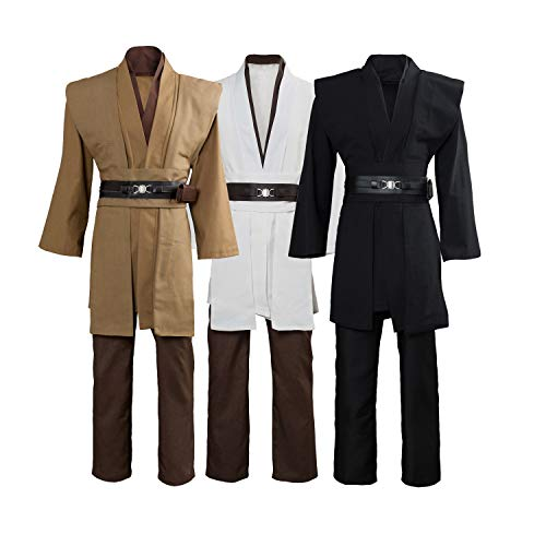 Tunic Costume Jedi Cosplay Costume Mens Halloween Cosplay Costume Tunic Robe Full Set White (Jedi Costume)